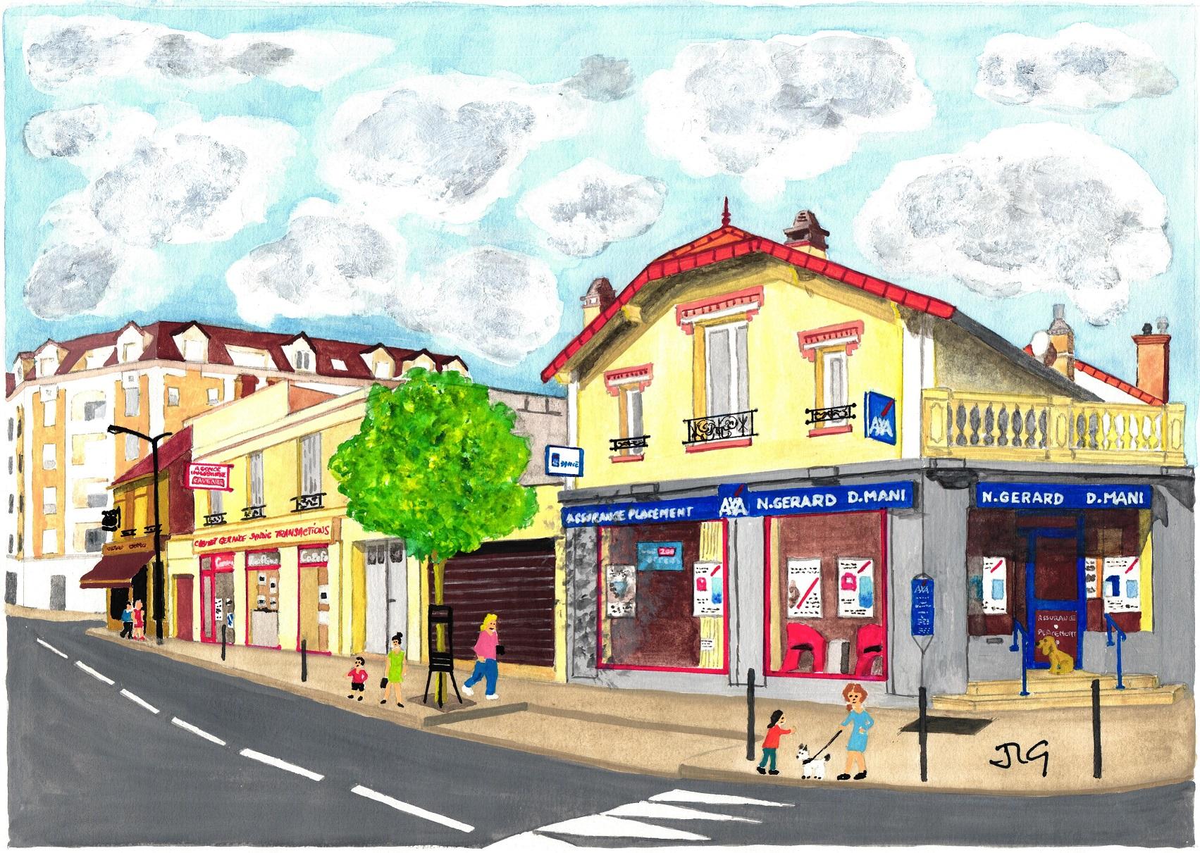 dessin de la devanture de l'agence Axa avenue jean jaures à sartrouville
